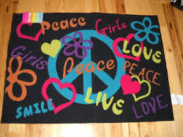 Teen Rug Girls Bedroom Decor Peace Signs Live Laugh Love Throw Rug Teen