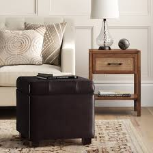 Faux Leather Ottoman with Single Storage Ottoman Faux Leather Brown Threshold Target