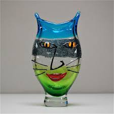 Vase Face Murano Glass Vase With A Cat U0027s Face 1980s For Sale At Pamono