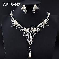 wedding necklace earrings images Weibang beautifully silver branch pearls necklace earrings wedding jpg