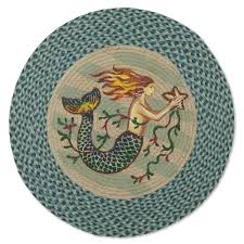 Outdoor Braided Rugs Sale by Folk Art Mermaid Round Braided Jute Rug Sturbridge Yankee Workshop