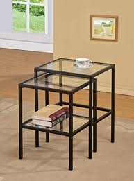 Amazon Com Black Metal Glass Side End Nesting Tables With Shelf