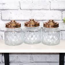 ebay kitchen canisters 3 x glass storage jars copper lids tea coffee sugar canisters
