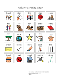 technology and speech therapy corner multiple meaning bingo
