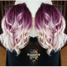 gorgeous deep lilac shadow root with vanilla white blonde shafts