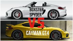 porsche boxter vs cayman 2016 porsche boxster spyder vs porsche cayman gt4