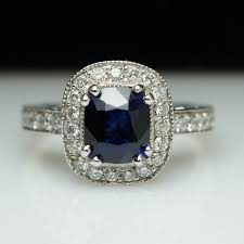 rectangle cushion cut engagement rings 2 23ctw sapphire halo engagement ring 14k white