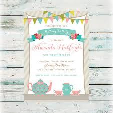 printable tea party birthday invitation digital file