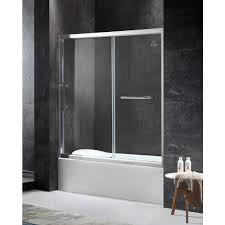 Sliding Glass Shower Doors Over Tub by Fixed Shower Doors Showers The Home Depot