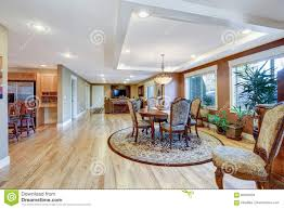 craftsman home dining room interior with open floor plan stock