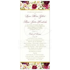 gold wedding programs floral wedding program burgundy watercolor flowers feathers