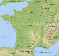Map Of France And Surrounding Countries by France Physical Map