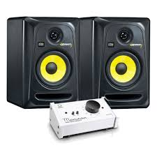 krk home theater krk rokit rp5 g3 active monitors with passive monitor controller