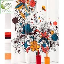 Pvc Free Shower Curtain Peva Pvc Bold Flower Pattern Extra Long Shower Curtain