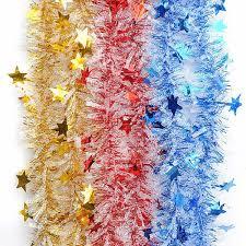 christmas shiny star garland ribbon xmas christmas tree decoration