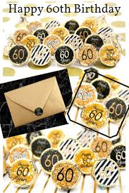 60th birthday party favors black and gold 60th birthday party favor stickers set of 324