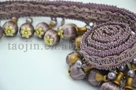 Beaded Fringe For Curtains Hook Pick Handmade Pumpkin Wood Beads Fringe For Lamp Or Curtain