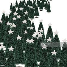 forest of christmas trees on a white background stock photo