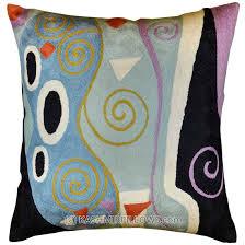 Decorative Pillows Modern Klimt Modern Throw Pillows Blue Cushion Cover Marine Accent Sofa