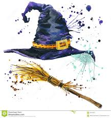 halloween witch hat and broom witch watercolor illustration stock