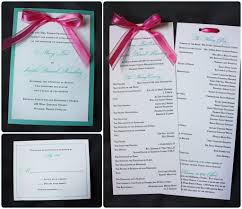 Make Wedding Programs Lagoon Turquoise U0026 White Wedding Invitations With Pink Bow