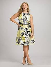plus size yellow floral fit and flare dress dressbarn my style