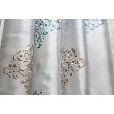 sea green and beige damask embroidered sheer curtain panels