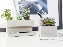 kikkerland concrete desktop planter gadget flow
