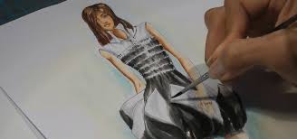 fashion drawing how i paint a black and white dress fashion