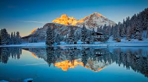 winter cabin in mountain reflection 4k wallpaper wallpapers 4k 5k 8k