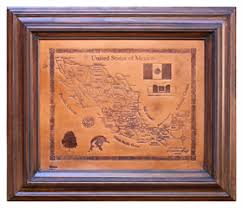 leather map handmade leather map in solid wood frame