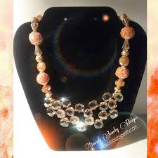 gold crystal beaded necklace images Double layer crystal glass bead necklace omosebijewelry jpg