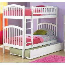 bedroom white modern stained solid wood kids bunk bed