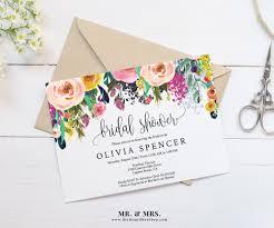 bridal brunch invitations template editable watercolor floral bridal shower invitation template