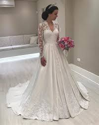 lace wedding dress with sleeves vintage a line lace sleeves satin wedding dresses for