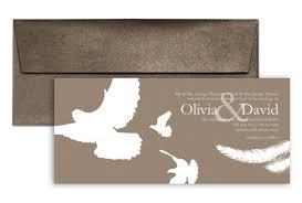 wedding invitation exle brown white doves wedding invitation exle 9x4 in horizontal