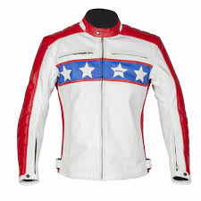 blue motorbike jacket spada turismo red white blue retro vil evel kineval motorcycle