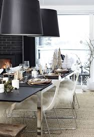 rustic christmas table setting in the dining room with nordic
