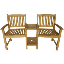 charles bentley garden teak wooden companion seat set love seat