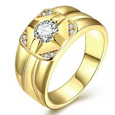 big gold rings images High quality classic dazzling zirconia big gold ring gold plated jpg