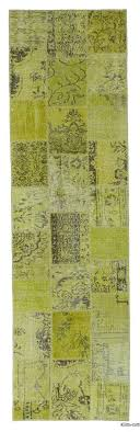 Yellow Runner Rug Runner Overdyed Patchwork