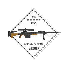 firearm logo template guns rifles badge flat design vector