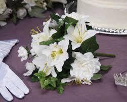 Silk Cream White Lily And Gardenia Wedding Bridal Bouquet