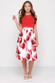 midi skirt ivory and floral print skirt midi skirt high waisted skirt