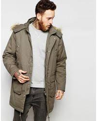 Green Parka Jacket Mens Asos Faux Fur Lined Parka Jacket In Khaki In Green For Men Lyst