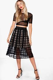 midi skirt meena grid mesh midi skirt boohoo