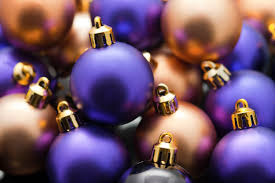 photo of purple and gold xmas baubles free christmas images