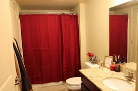 small bathroom idea bathroom modern small bathroom with red curtain as shower