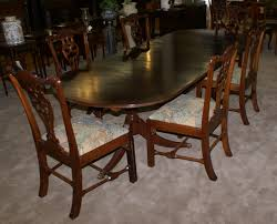 Oval Banded Inlaid Dining Room Table And Six Chippendale Dining - Chippendale dining room furniture