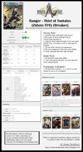 Deck Rating Jobs by Ranger Thief Of Tantalus Zidane Ff9 Breaker Legend Job Gl